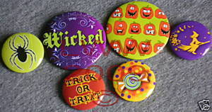 6 New Witchy Halloween Wicked Lapel Button Pins