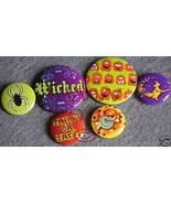 6 New Witchy Halloween Wicked Lapel Button Pins - $5.99