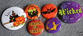 6 New Witchy Halloween Haunted House Lapel Button Pins - $5.99