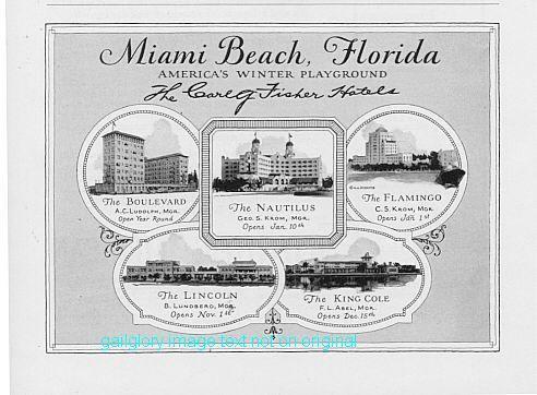 1926 Florida East Coast 2 Vintage Hotel Print Ads