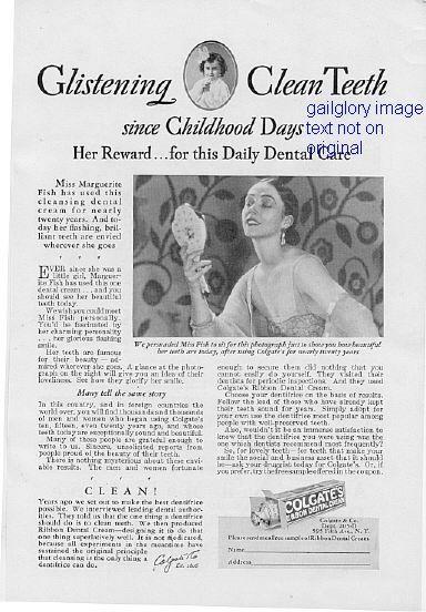 1928 Colgates Dental Cream 2 Vintage Magazine Print Ads