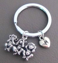 Three Monkeys Keychain, Three wise monkeys Charm, see no evil,Hear no evil  - $10.20