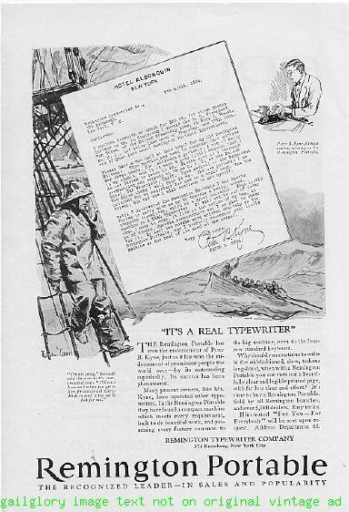 1924 Remington Portable Typewriter 3  Vintage Print Ads