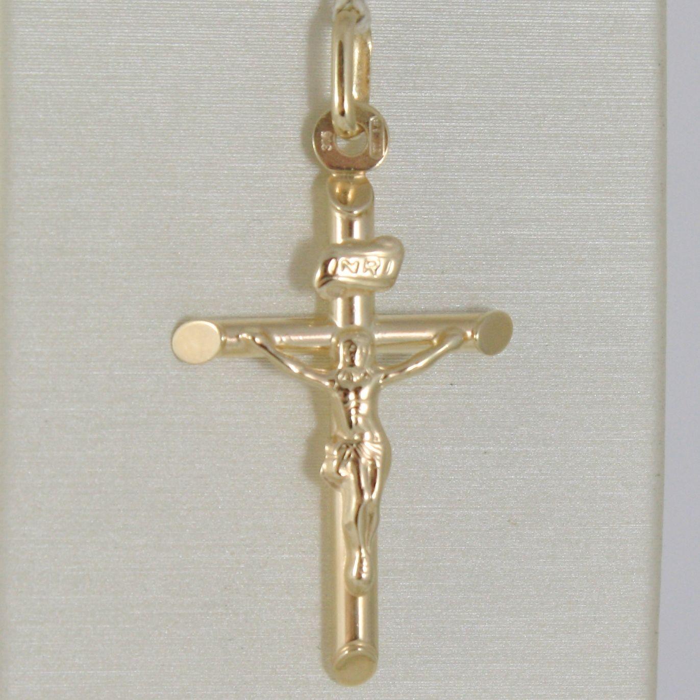 PENDENTIF CROIX OR JAUNE OU BLANC 375 9K,TUYAU,AVEC LE CHRIST,JESUS,