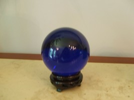INDIGO Crystal Ball Sphere 13in CIRCUMFRENCE Wood Stand& Gift Box Large ... - $792.00