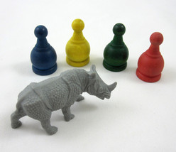 Jumanji Board Game Pieces 4 Pawns and Rhino Figure 1995 Milton Bradley 4407 - $14.99