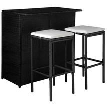 44175 vidaXL Outdoor Bar Dining Set 5 Pieces Poly Rattan Black and Cream... - $203.99
