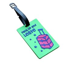 Set of 2 Luggage Tags Bag Tags Silicone Name Tags Travel Tags [Green Luggage]