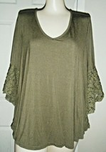 KONTROJ TAUPE 3/4 BELL SLEEVE STRETCH RAYON PULLOVER TOP SIZE 2X - $17.41
