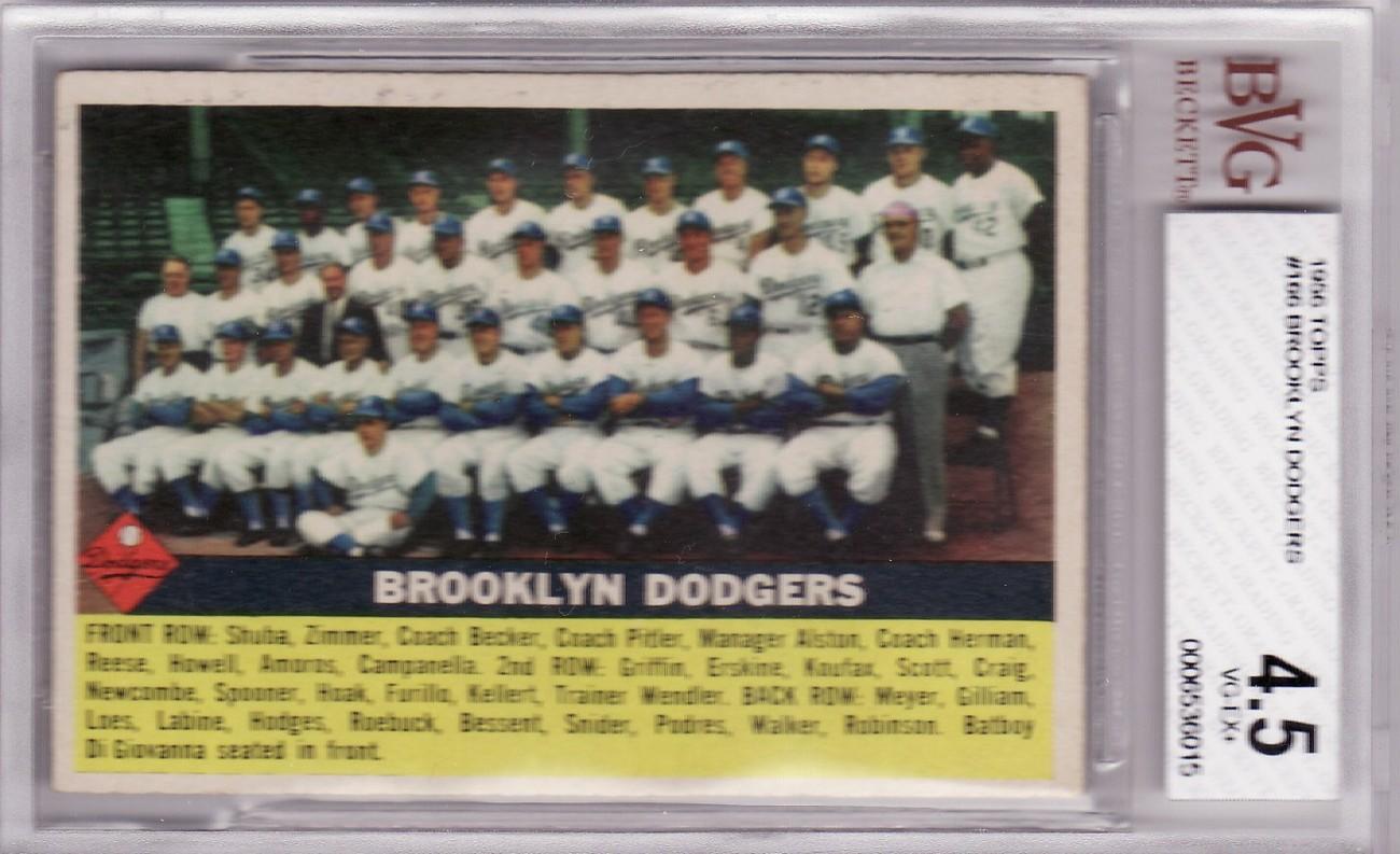 Dodgers 1956 topps  166 team card bvg 4.5