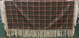 "Native American Womens Shawl Army Green Red Plaid Wool Yarn Fringe 54"" x... - $79.99"