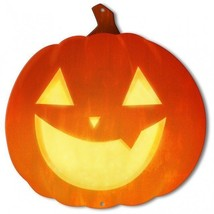 Jack-O-Lantern Smiling Pumpkin Halloween Plasma Metal Sign - £22.98 GBP