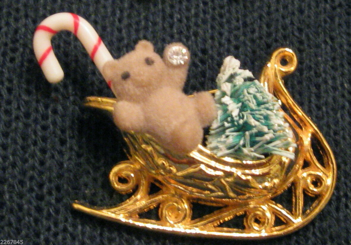 Primary image for Avon Lapel Pin Gold Plated Teddy Bear Toy Sleigh Christmas Statement Brooch