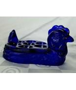 Cobalt Blue Glass Hen Chicken Egg Holder Tray Plate Vintage Hard Boiled ... - $52.20