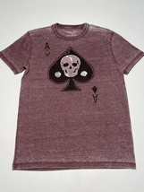 LUCKY BRAND Adult SMALL Ace Of Spades Skull Faded Unisex T-Shirt - $18.99