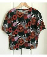 Marimekko Uniqlo Women Green Orange Floral Short Sleeve Cotton Crop T-sh... - $34.99