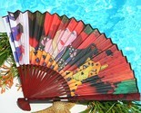 Folding Hand Fan Paper Art Deco Woman Red Hat Society Cheetah Signed
