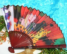 Folding Hand Fan Paper Art Deco Woman Red Hat Society Cheetah Signed - $29.95