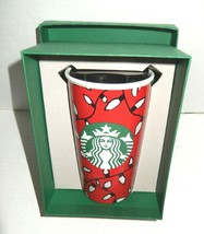 NEW Starbucks 2016 Christmas Lights Travel Tumbler Red Ceramic 12 oz - $17.00