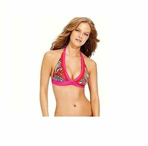 Becca Beach Bikini Top Sz S Magenta Red Floral Triangle Halter Swim Bra  - $12.09