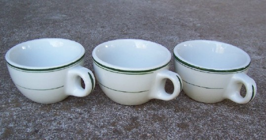 Wellsville Restaurant Ware Cups White/Green Trim