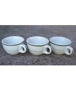 Wellsville Restaurant Ware Cups White/Green Trim - $14.00