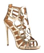 NEW JustFab Women's JF Katrina Size 7.5 Stiletto Gold Circular Cutout Sa... - $18.90