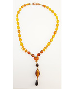 """Amber Necklace with Art Glass Bead Pendant 19"""" Length Genuine Light Ambe... - $49.95"""