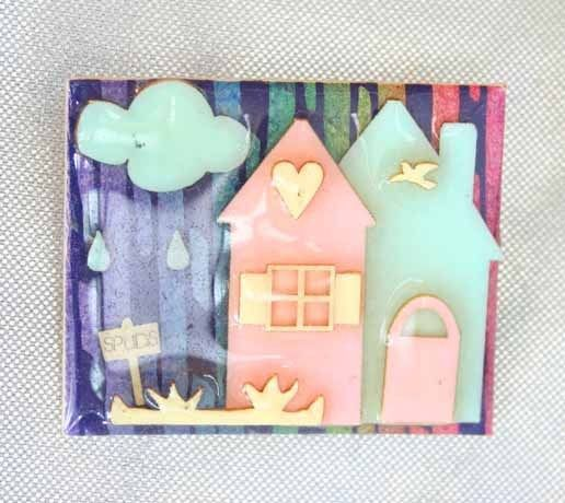Primary image for Charming Lucinda Rain Cloud & Garden House Brooch