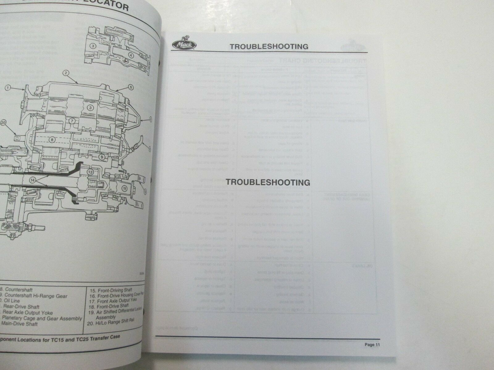 2000 Mack Lkws Transfer Schutzhülle TC15 & TC25 Serie Service Reparatur Shop