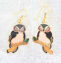 Vintage Cloisonne Enamel Owl Earrings 70s pink & black - $14.80