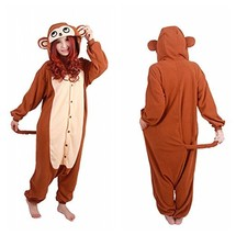 Animal Cosplay Costume Unisex Adult Brown Monkey Pajamas - $46.99