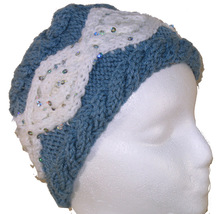 Child's Blue and White Hand Knit Hat with Sequins - $22.00