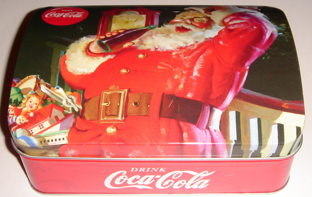 Coca Cola ~ Christmas Cookie Tin w/ Hinged Lid