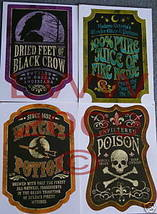 4 Halloween Potion Bottle Labels Wine Or Beer-sized - $3.99