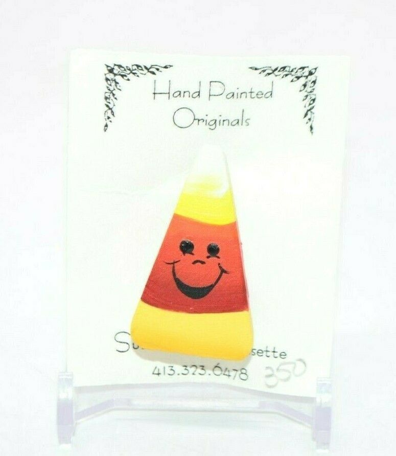 Primary image for Susan Shea Bressette Hand Painted Halloween Candy Corn Pin New Old Stock