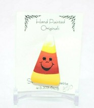 Susan Shea Bressette Hand Painted Halloween Candy Corn Pin New Old Stock - $19.79