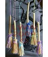 6 Samhain Halloween Tan & Pastel Broom/Besom Ornaments - $13.49
