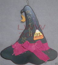 Rustic Wood Witch is in/out Halloween Witch Hat Sign NEW - $12.99