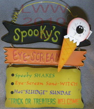 Spooky's Eye-scream Shop Sign Metal & wood Halloween - $12.99