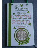 Irish Blessing Shamrock Circle Celtic Knot Sign Plaque - $12.99