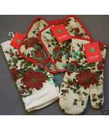 Christmas Poinsettia Kitchen Towel Pot Holder Oven Mitt - $12.99