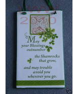 Irish Blessing Shamrock Square Celtic Knot Sign Plaque - $12.99