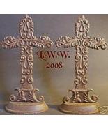 Pair of Rustic Metal Shelf Crosses- Gothic Celtic NEW - $12.99
