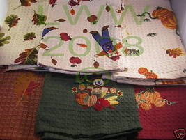6-pc Autumn Harvest Kitchen Towel Set pumpkin scarecrow - $11.99