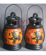 2 Ceramic Witch on broom pumkin Tea Candle Lanterns NEW - $11.99