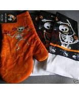 Black & Orange Skeleton Halloween 3 towels & oven mitt - $11.99