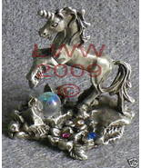Small Pewter Unicorn with flowers & gems Statue Figure - $11.85