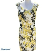 Ann Taylor Sheath Dress Black Yellow White Floral Size 10 - $20.79