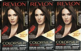 Lot of 3 REVLON Colorsilk Buttercream 415 Dark Soft Mahogany Brown Perma... - $18.76
